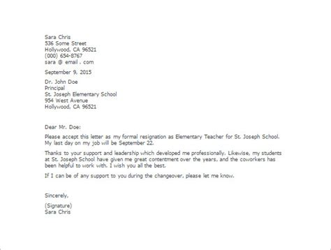 Resignation Letter Of School Resignation Letter Resignation Letter Due To Further Education Formats Elementary