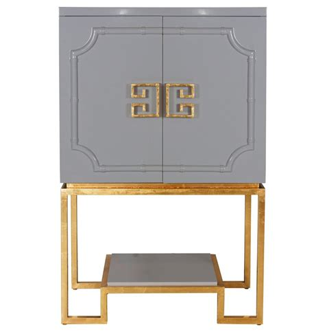 Gray Bar Cabinet Bombay Regency Grey Lacquer Gold Bar Cabinet Kathy Kuo Home
