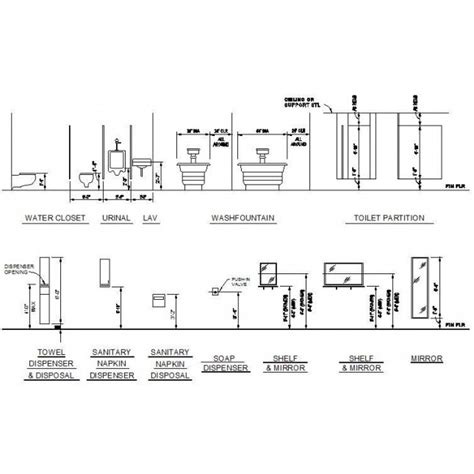 dispense autocad bathroom fixtures mounting heights cad dwg cadblocksfree