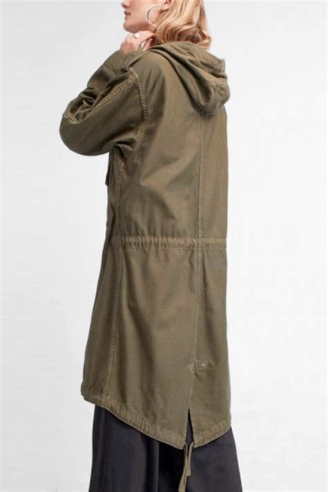 Hooded Buttoned Trench Coat army green zipper up buttoned pockets drawstring casual