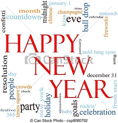 clip art of happy new year word cloud concept an