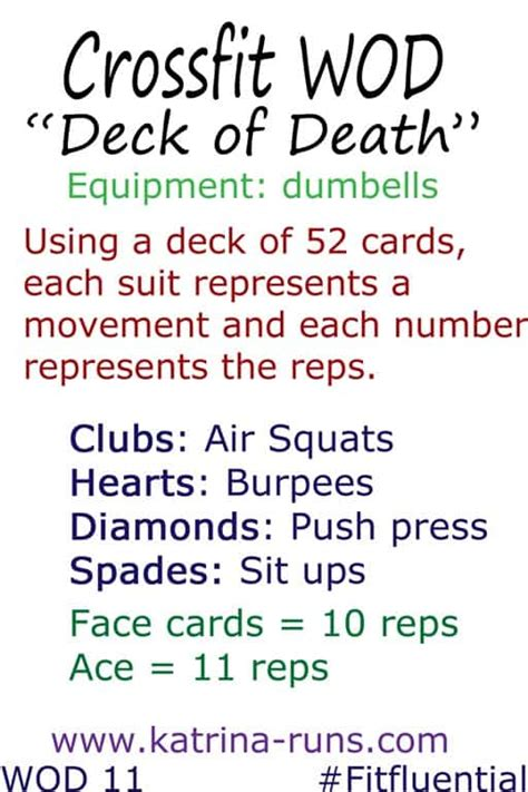printable deck of cards workout crossfit deck of death and running recap katrina runs
