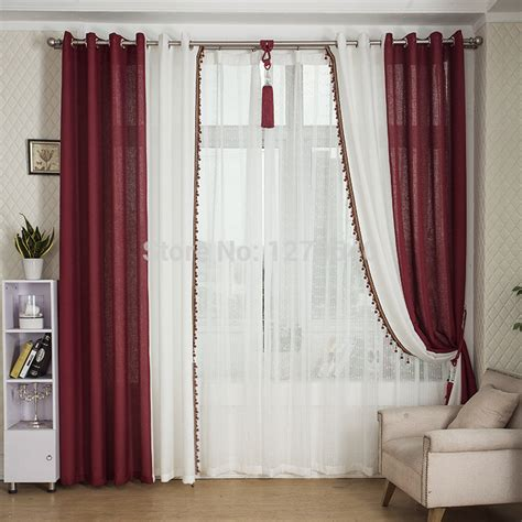 curtains wholesale wholesale simple curtain solid linen patchwork burgundy