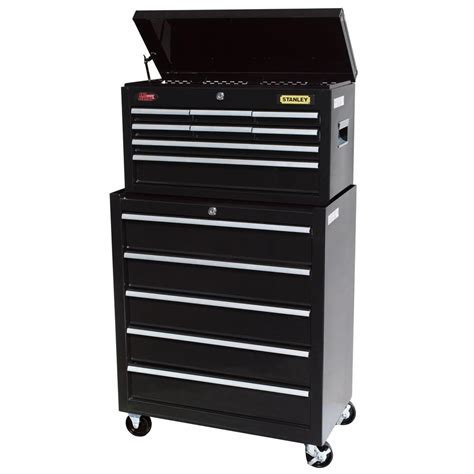 stanley 24 in 13 drawer chest and cabinet set black