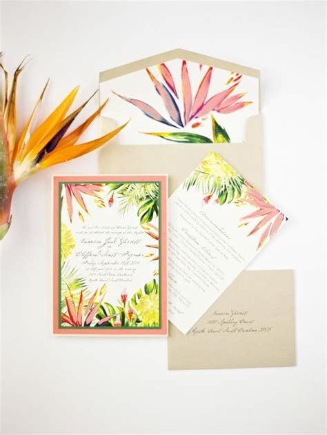 Tropical Wedding Invitations by The Most Tropical Wedding Theme You Ve Seen