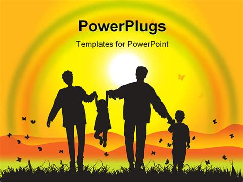 Happy Family Walks On Nature Sunset Illustration Family Powerpoint Templates