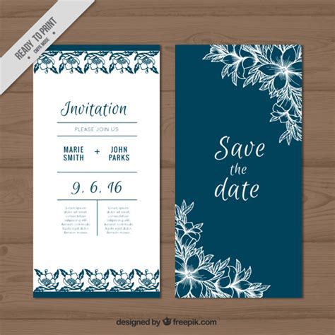 Wedding Card Freepik by Wedding Card With Sketches Flowers Vector Free