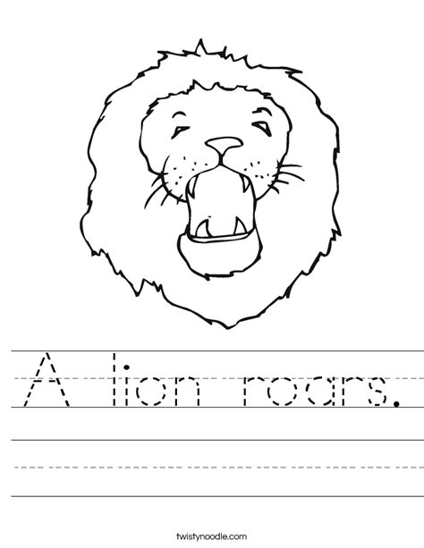 lion roars worksheet twisty noodle