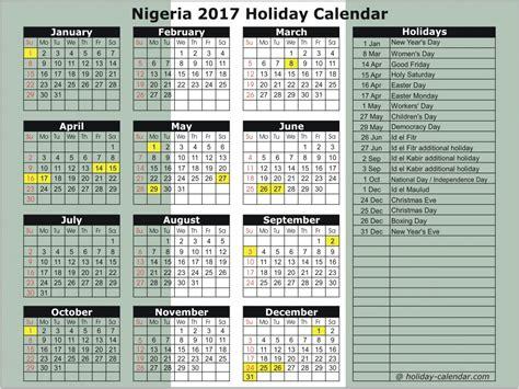 Niger Calend 2018 Nigeria 2017 2018 Calendar