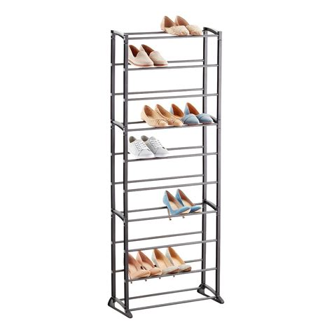 other uses for metal shoe rack gunmetal 30 pair shoe rack the container store