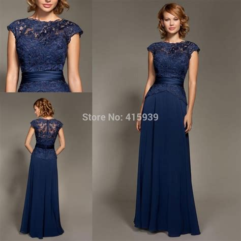 Mark Lesley Dark Navy Blue Bridesmaid Dress Lace Chiffon Cheap Long Formal Brides maid Dress