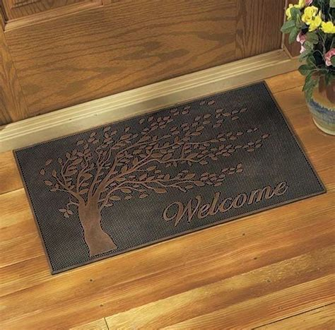 Rubber Metallic Front Door Welcome Mat Doormat Tree Design Mat For Front Door