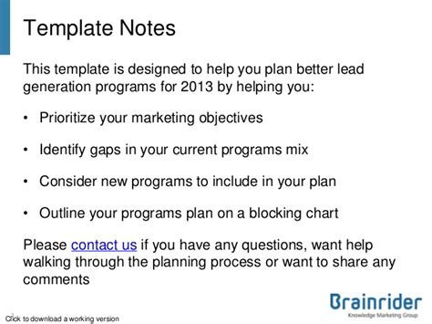 lead generation plan template b2b lead generation plan template 2013