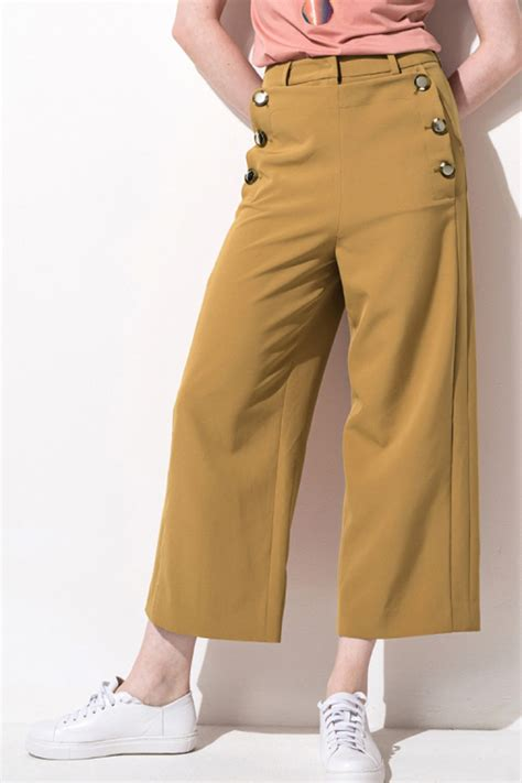 khaki button decor pocket wide leg pants   women