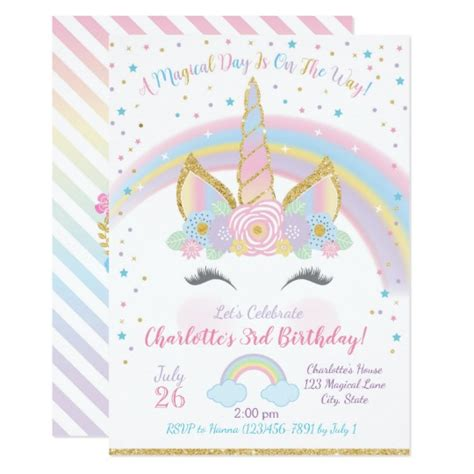 free unicorn invitations for birthday unicorn birthday invitation unicorn invite zazzle co nz