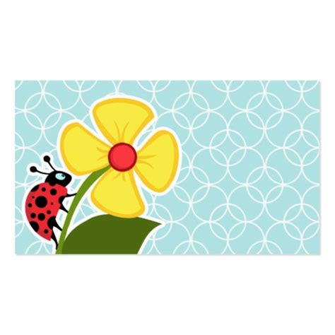 ladybug business card template baby blue circles ladybug sided standard business