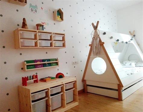 tipi kinderzimmer gebraucht habitacion infantil cama tipi y trofast ikea
