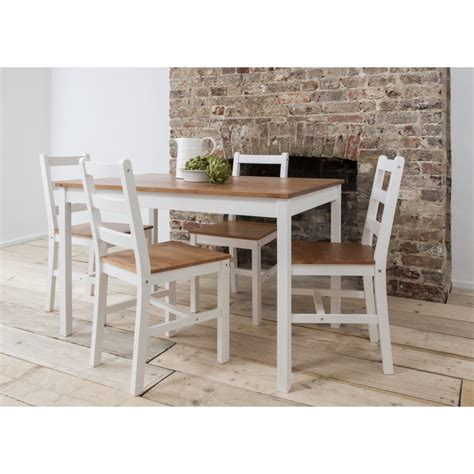 annika dining table with 4 chairs 140cm white