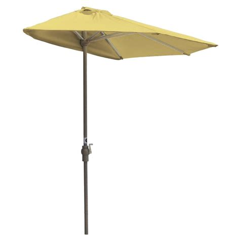 Half Patio Umbrella Blue The Wall Brella 7 5 Ft Patio Half Umbrella In Yellow Sunbrella Otwb 7sy