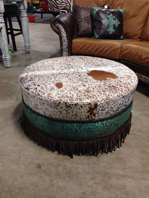 Round Cowhide Ottoman With Fringe Cowhide Western Cowhide Cocktail Ottoman
