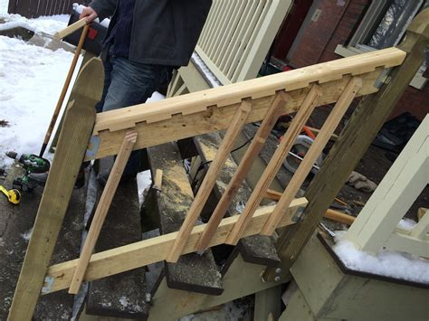 building a banister how to build a handrail for your porch safer stairs in 3 hours for 60