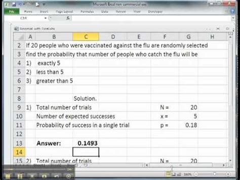 solve binomial distributions problems with excel youtube