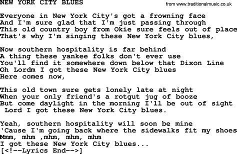 new blues songs new york city blues by merle haggard lyrics