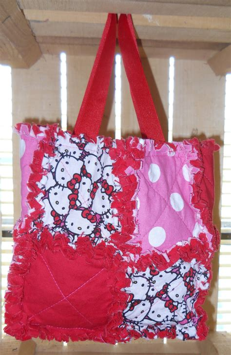 Rag Quilt Purse by Rag Quilt Purse Tote Bag Hello Pink Ribbon
