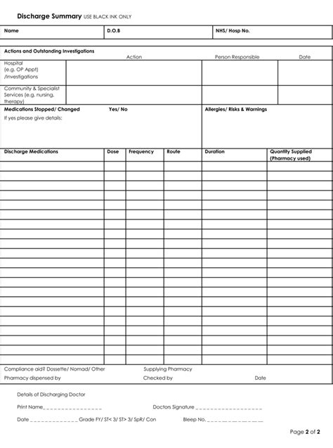 patient discharge summary template discharge summary templates 4 sles to create