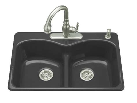 Cheap Black Sinks Kitchen Gt Cheap Kohler K 6626 2 7 Langlade Smart Divide Self Kitchen Sink Black Black