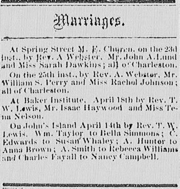Charleston Sc Marriage Records Marriages From The Charleston Advocate April 27 1867 Iaam Center For Family History