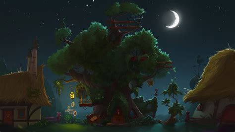 golden village wallpaper my little pony library fantasy anime trees architecture