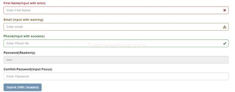 bootstrap tutorial registration form bootstrap form control states exle validation code