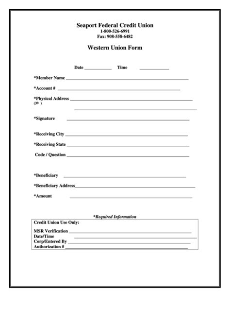 template of union western union form printable pdf
