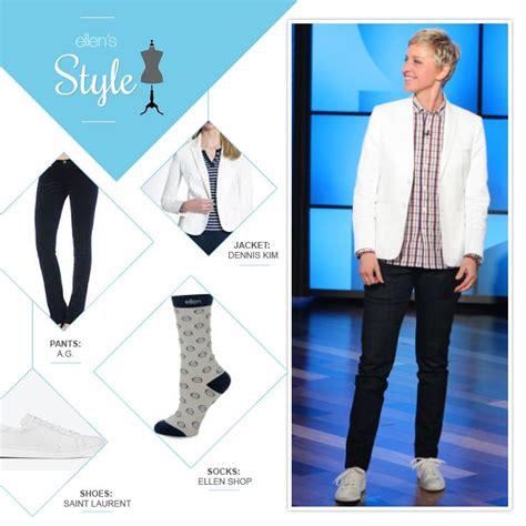 Degeneres Wardrobe Stylist by S Look Of The Day White Blazer Plaid Button Up Socks White Shoes