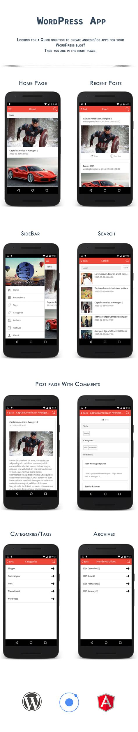 phonegap templates for android free ionwp ionic phonegap cordova wordpress app full