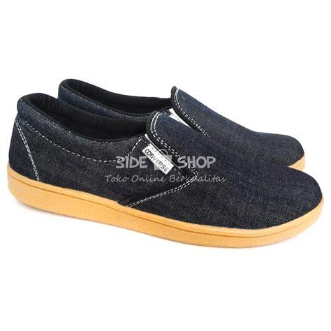 Lmbdr Sepatu Casual Hitam 5 Cm jual sepatu casual pria slipon hitam jahit putih converse