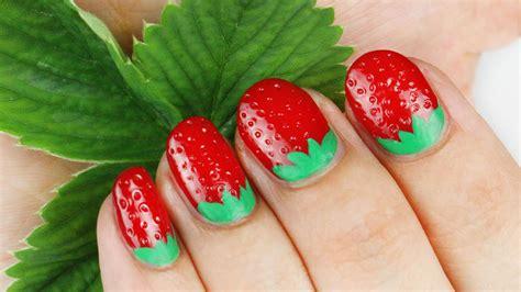tutorial nail art strawberry 3d strawberry nail art tutorial youtube