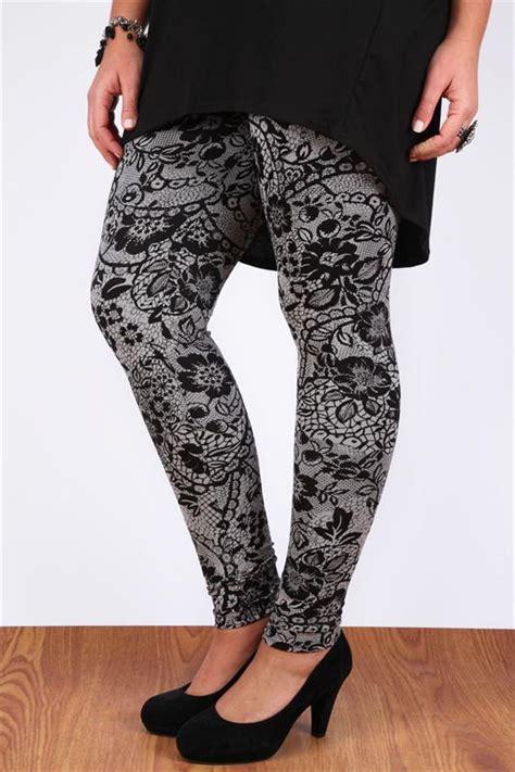 B 001 Print Premium Legging grey and black floral lace print length plus size 16 18 20 22 24 26 28 30 32