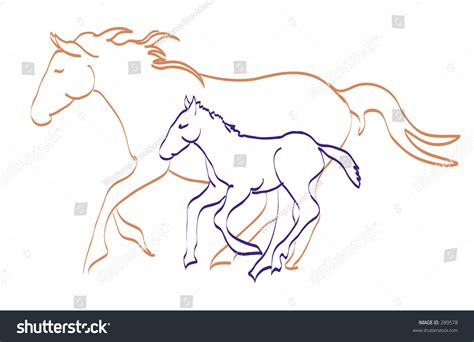 mare clipart mare and foal running together stock vector illustration