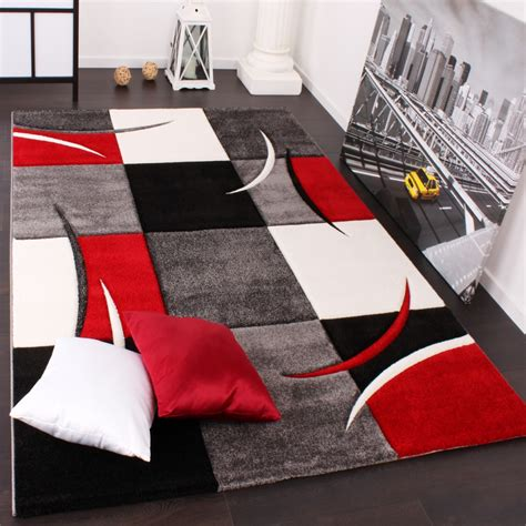 teppich schwarz weiß rot designer teppiche und hochflor teppiche