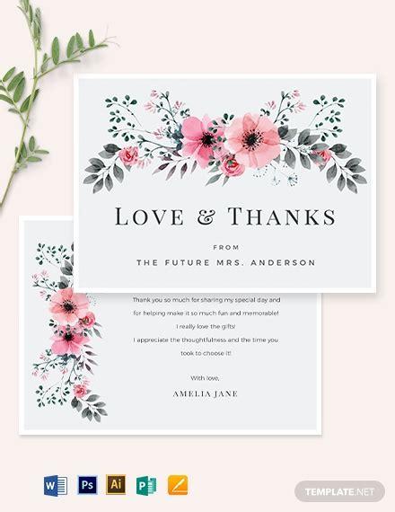 thank you card illustrator template bridal shower thank you card template word psd apple