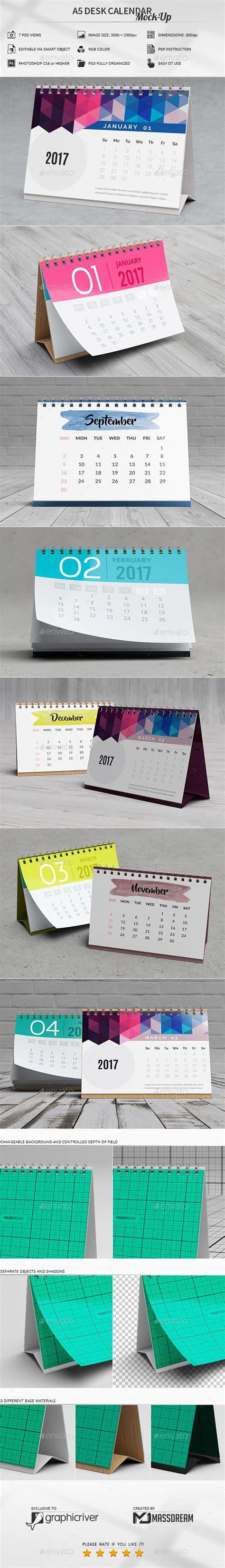 A5 Desk Calendar Mock Up By Massdream Graphicriver Mock Schedule Template