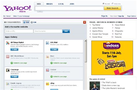 Email Yahoo India | the new yahoo homepage goes live in india indian add ons