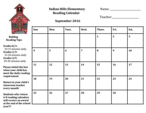 Elementary Reading Log Calendar March - monthly reading calendars 5th grade indian elementary