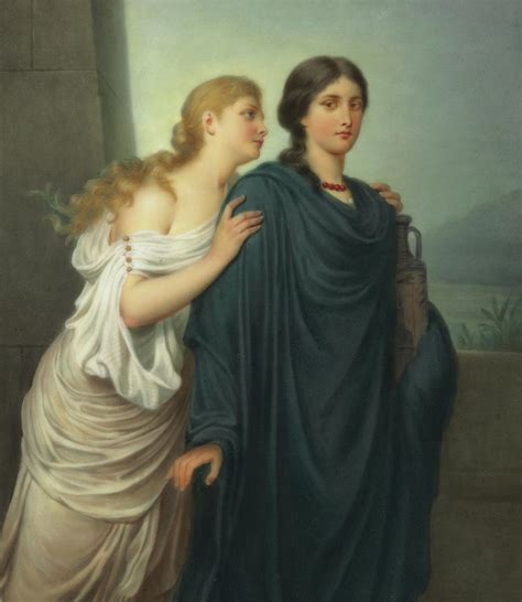 Duvet Company Antigone And Ismene Painting By Emil Teschendorff