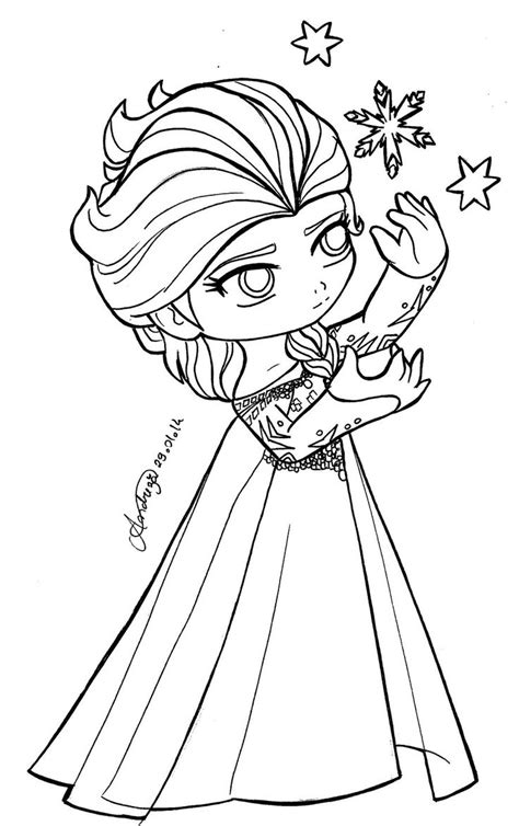 vire princess coloring pages chibi elsa frozen by tifayuy frozen