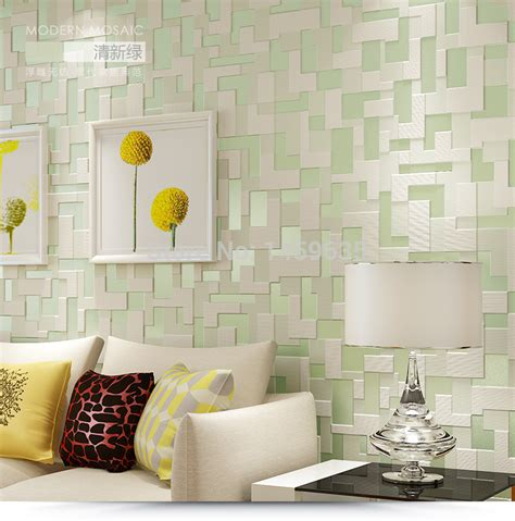 green wallpaper room popular simple mosaic patterns aliexpress