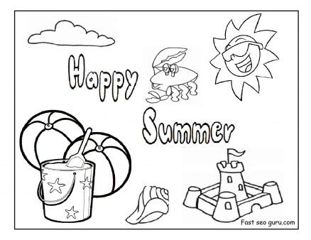 printable happy summer beach coloring pages printable
