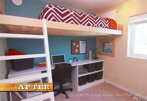 ana white floating bunk beds and desk diy projects ana white build a loft bed as seen on hgtv saving alaska